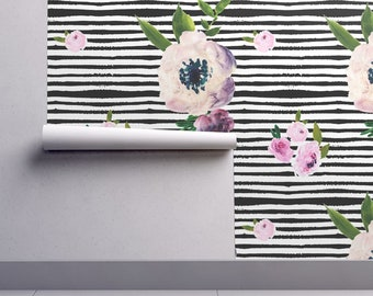 Floral Stripe Wallpaper - Watercolor Floral Black Stripe By Shopcabin - Custom Printed Removable Self Adhesive Wallpaper Roll by Spoonflower