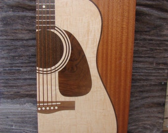 Wall Decor of a guitar Inlaid  Free Shipping within the U.S.