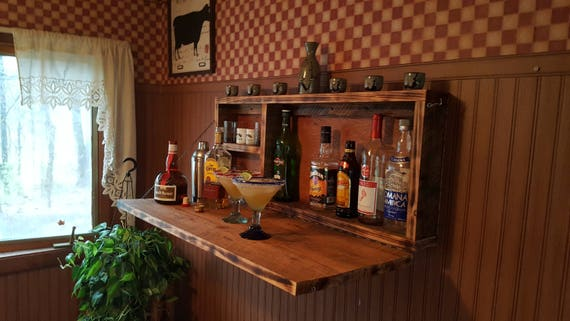 Rustic Bar For Man Cave : Rustic murphy bar wall mount man cave liquor cabinet