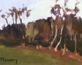SALE Thanksgiving Morning - 5x7 inches original plein air painting of the woods in autumn by Maryland landscape painter Barb Mowery