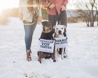"Pregnancy Announcement for Two Dogs ""Guard Dog Duty"" + ""Official Toy Tester"" Baby Banners (Set of 2) Custom Announcements 1879 BB"