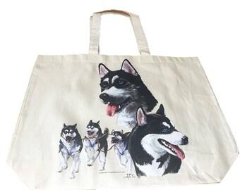 Siberian Husky Dog  100% Cotton Tote  Shopper Bag For Life