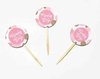 She's Ready to Pop Pink Glittery Cupcake Toppers for Baby Girl - Party Decoration - DIY Instant Download PDF File