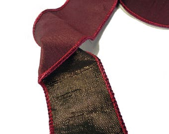 "Deep Maroon With Bronze Underside Wired Ribbon  2.5"" Wide"