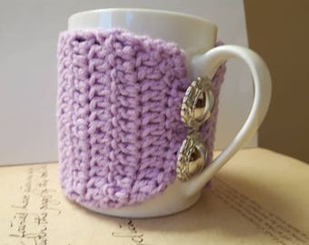 Crochet Coffee Cup Sleeve. Handmade Crochet Cup Cozy.