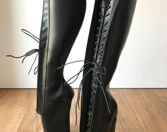 RTBU SECRET W Ballet Wedge Training Boot Hoof Heelless Zip Black Matte