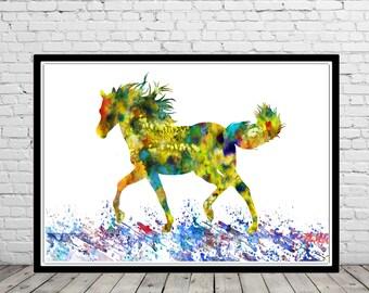 Horse, watercolor art print, watercolor horse, horse print, horse art, home decor, horse art print, animal art (2145b)