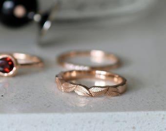 14k rose gold leaf wedding ring, rose gold ring, solid gold leaf ring, leaf engagement ring, flower wedding band