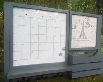 A Magnetic Dry Erase calendar--Family Organizer---Kitchen Decor--Furniture--Hand crafted wood work