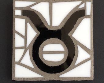 Taurus zodiac sign mosaic, black and white