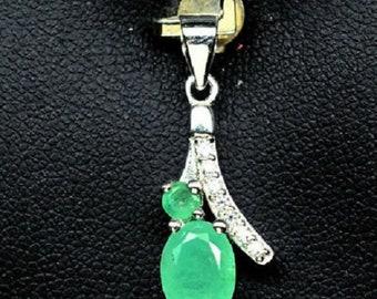 Emerald pendant, 925 Sterling Silver, emerald natural, silver pendant, handmade pendant