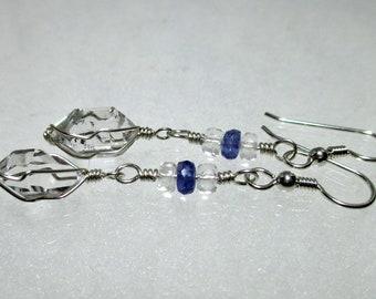 ww1381 - TANZANITE & HERKIMER DIAMOND Wirewrap Earrings - Argentium Sterling Silver