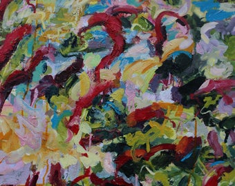 Large and Powerful Abstract Expressionist Red and Pink Landscape Inspired Painting