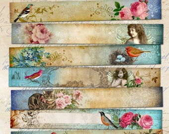 Printable ROMANTIC ART STRIPS multipurpose Victorian style images for scrapbooking bookmarks craft, embellishment. ArtCult Digital Downloads