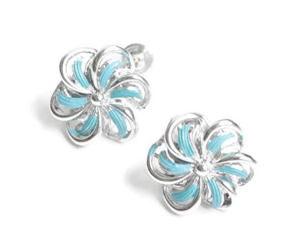 Turquoise Enamel Earrings Pinwheel Swirl Design Signed Star Screw Back