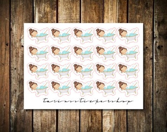 Bath - Cute Brunette Girl - Functional Character Stickers