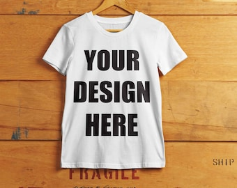 Custom T-shirt - Print Your Own Design - Logo - Photo - Cotton T-shirt in a Variety of Colors and Sizes