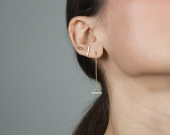 Gold T Bar Earrings / Drop Chain Earrings / Dangly Chain Earrings / Long Delicate Chain Earrings / Gold Minimal Contemporary Jewellery