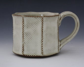 White Patterned Facet Americano Mug