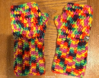 Autism awareness Multicolored Fingerless gloves/wrist warmers