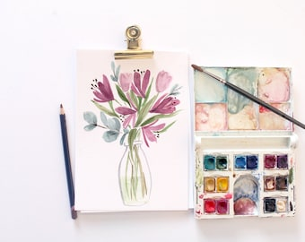Purple Flowers- Original Floral Watercolour