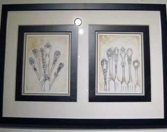 Antique Silverware Handles in Watercolor