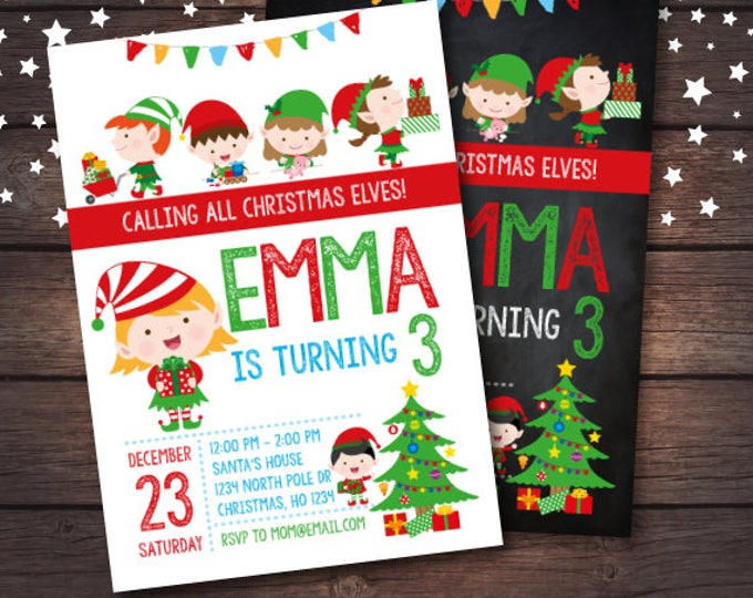 Christmas Birthday Invitation, Elves Invitation, Holiday Party Invitation, Christmas Party, DIGITAL