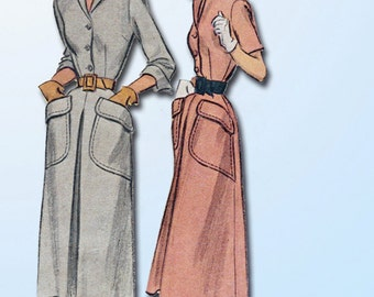 1940s Vintage Day Dress Pattern McCall Sewing Pattern 7758 Sz 32 B