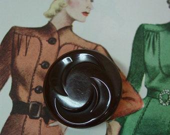 "Nice Big Chunky Carved Bakelite Button, Chocolate Brown, 1 9/16"""