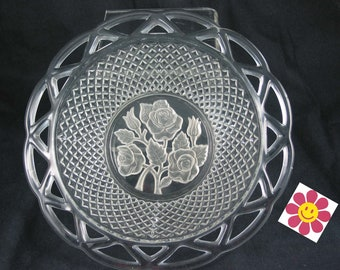 SALE ** Vintage Pressed Glass BOWL with LATTICE work and deeply etched Roses - Good for Easter hostess gift