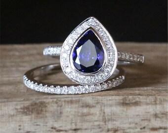 Blue Sapphire Engagement Ring Set 6*8mm Pear Cut Lab Created Sapphire Ring Set Half Eternity Diamonds Wedding Ring 14K White Gold Bridal Set