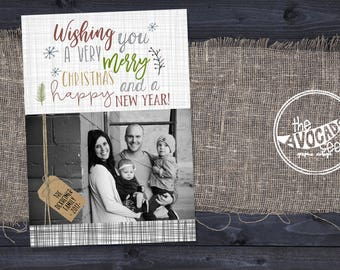 Jute Holiday Christmas Photo Card - DIY Printing or Professional Prints with Speedy shipping!