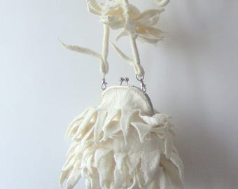 Fur purse Felted handbag Unique purse  White purse original bag gift for her Wedding bag bride purde by Galafilc outdoors gift