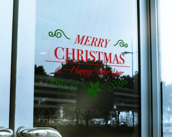 Merry Christmas Window Cling Decal