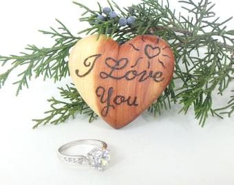 Narrow Ring Box Wood, Velvet Ring Box, Hidden Engagement Ring Box, Fun Ring Box, Little Ring Box Wood, Wooden Proposal Box, Little Ring Box