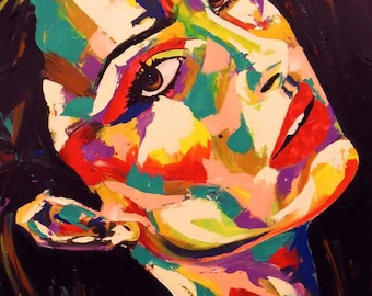 Natalie Portman Model Actress Modern Spontaneous Realism Abstract Custom Painting