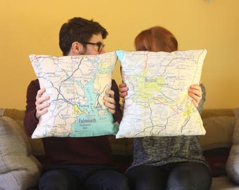 Personalised UK Destination Map Cushion or Pillow - Vintage Map, cartography, anywhere in the UK, home, housewarming