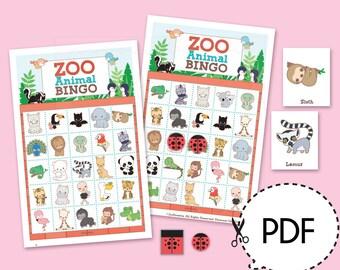 Zoo Animal Bingo Game Kit–Printable PDF Download