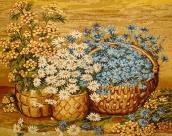 Wild flowers The gifts of summer Russian tapestry , picture, textilart, home decoration, for wall, flowers, Russian art,wall handing art