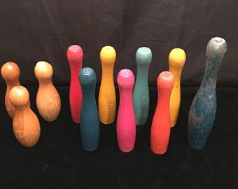 Junk Drawer Lot of 11 Mismatched Wood Tabletop Toy BOWLING PINS - Replacement Pieces or Craft Supplies