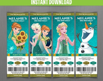 Disney Frozen Fever Birthday Ticket Invitations - Instant Download and Edit with Adobe Reader