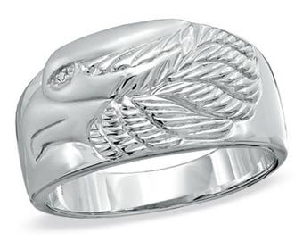 Men's Silver Eagle Ring, with Diamond