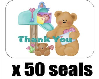 """50 Teddy Bear at Mailbox Thank You Envelope Seals / Labels / Stickers, 1"""" by 1.5"""""""