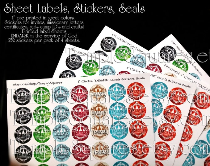 """Seals, Stickers, Sheet Labels 1"""" inch circles Embark in the Service of God for wedding invitations, YW 2015, missionary letters, necklaces"""