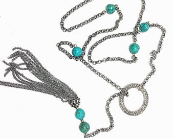 Turquoise Beads Lariat Necklace, Silver Crystal Tassel O Ring Adjustable Chain, Double Wrap or Belt, Long OOAK boho chic rodeo cowboy beach