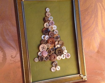 Button Christmas Tree Collage One of a Kind Art