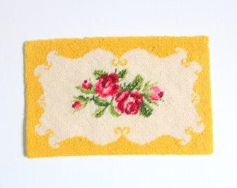 Miniature Rug, Dollhouse Rug, Dollhouse Rug Petit Point, Yellow Dollhouse Rug, Needlepoint Rug Floral Rug Yellow Floral Rug Dollhouse Carpet
