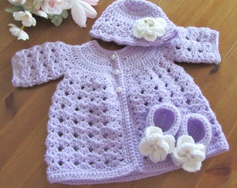 Baby Sweater Set, Crochet Baby Sweater, Baby Hat, Baby Booties, Infant Outfit, Lavender Baby Set, Newborn Baby Gift, Baby Easter Gift