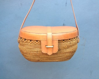 Rattan satchel bag,