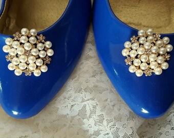 Vintage Style Shoe Clips, Bridal Shoe Clips, Rhinestone Shoe CLips, Pearl Shoe Clips, Clips for Wedding SHoes, Bridal SHoes, Gold shoe clips